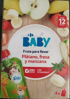 Fruta para llevar - Plátano, fresa y manzana