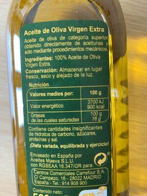 Acieta de oliva - Informació nutricional