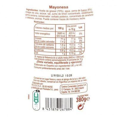 Mayonesa pet - Informations nutritionnelles - es