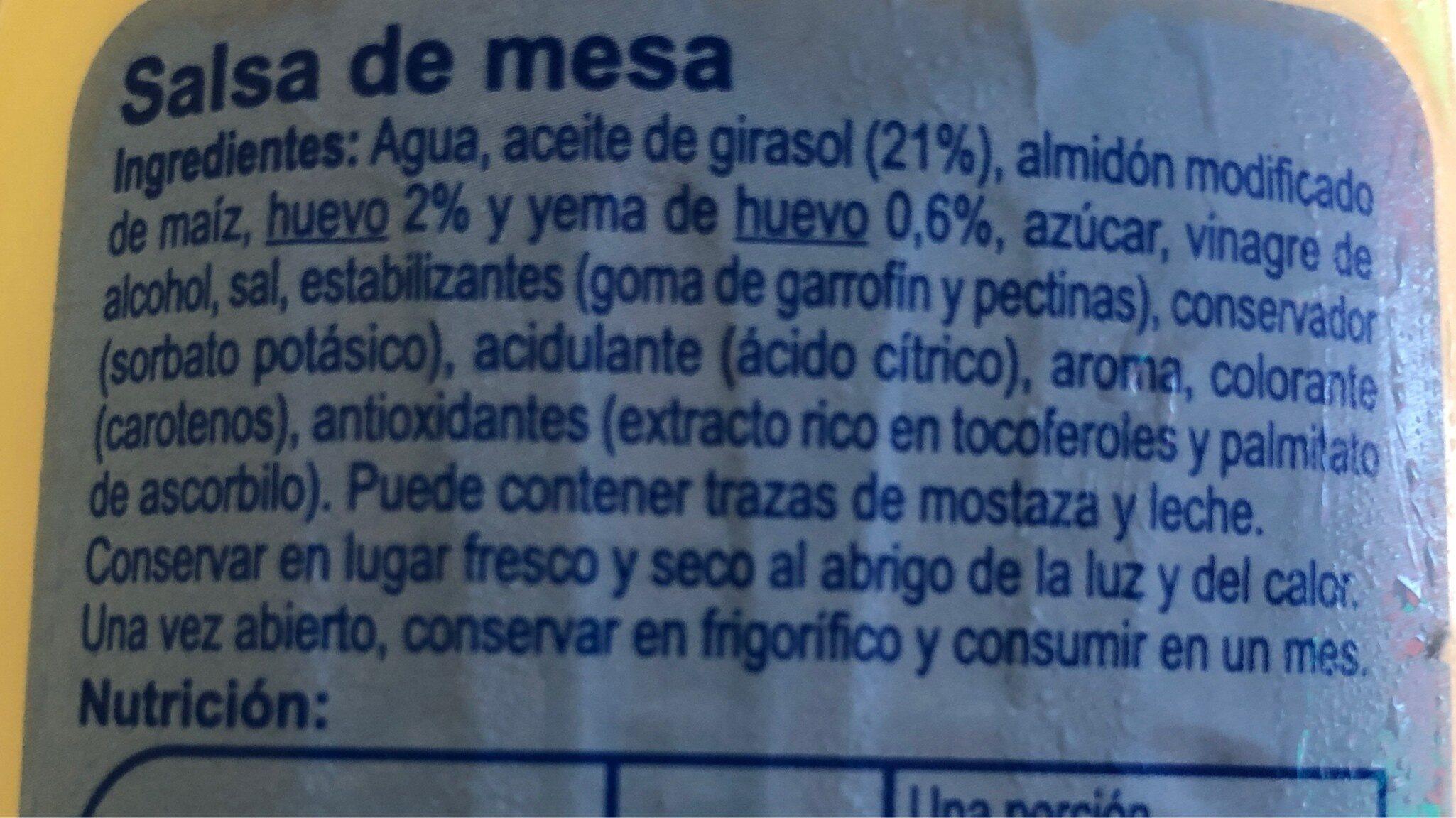 Salsa ligera - Ingredientes