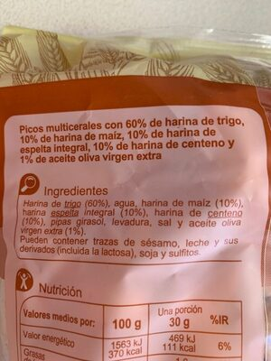 Picos multicereales - Ingredientes - es
