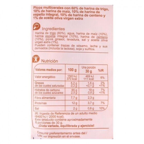 Picos multicereales - Informations nutritionnelles - es