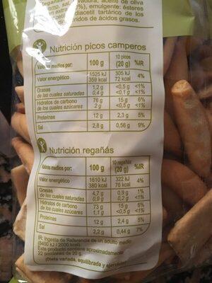 Picos y regañás - Informations nutritionnelles