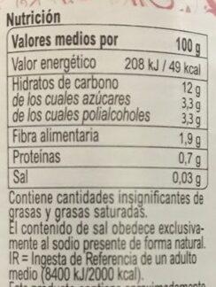 Confiture extra Frambuesa light - Información nutricional
