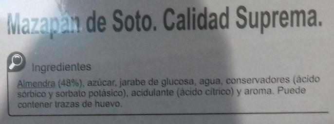Mazapán de Soto - Ingredientes - es