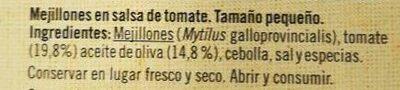Mejillones en salsa de tomate - Ingredientes