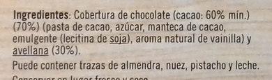 Turrón de chocolate negro y avellanas - Ingredientes - es
