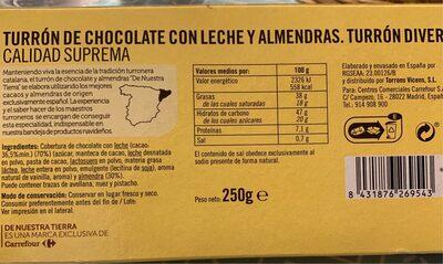 Turrón de chocolate con leche y almendras - Producto
