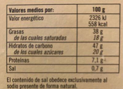 Turrón de chocolate con leche y almendras - Información nutricional