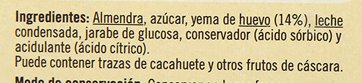 Turrón de yema tostada - Ingredients - es