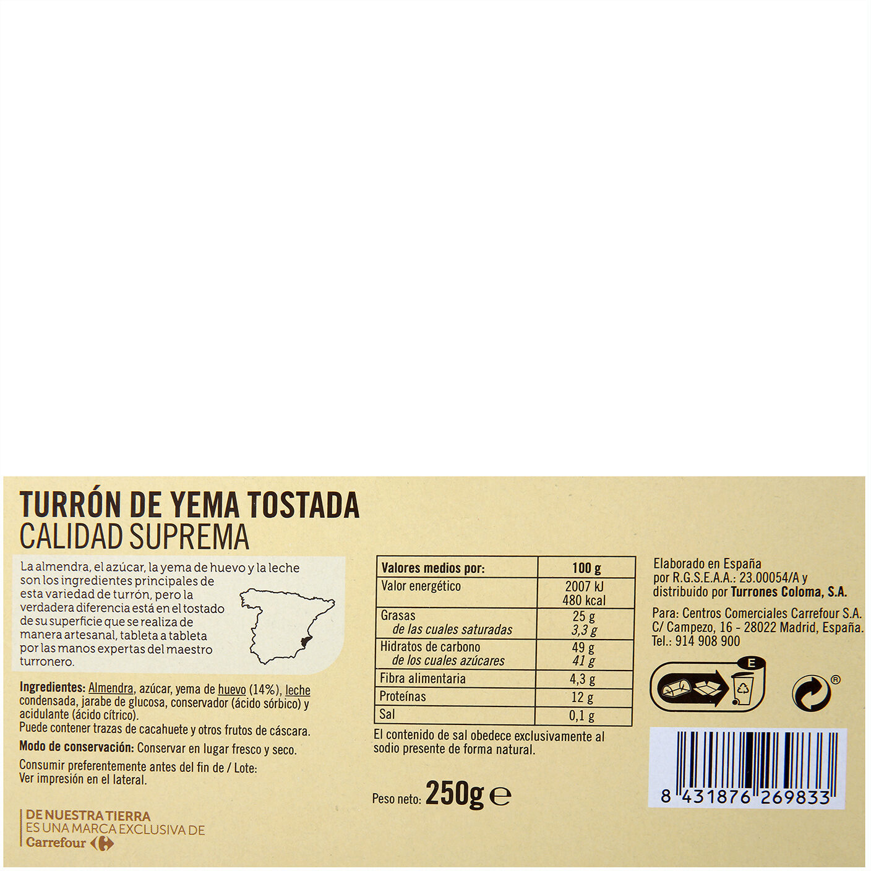 Turrón de yema tostada - Nutrition facts - es