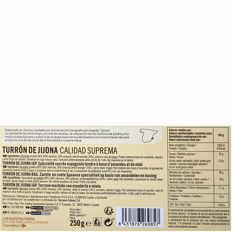 Turrón de jijona - Información nutricional - es