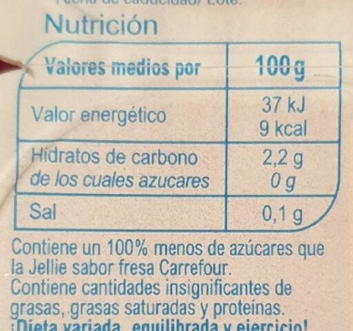 Jellies light sabor fresa - Nutrition facts