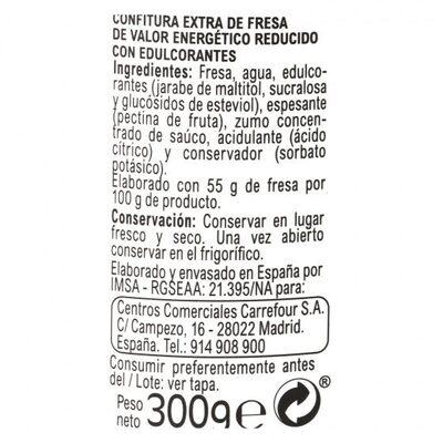 Confitura light fresa - Informations nutritionnelles - es