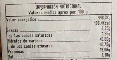 Pincho Moruno de Cerdo Adobado - Nutrition facts