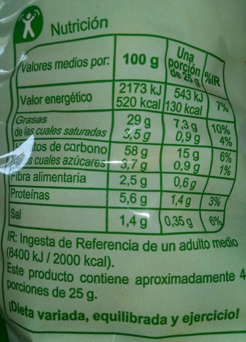Chitos sabor queso - Información nutricional