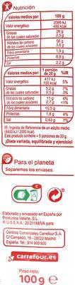 Bocaditos tomate y orégano - Nutrition facts - es