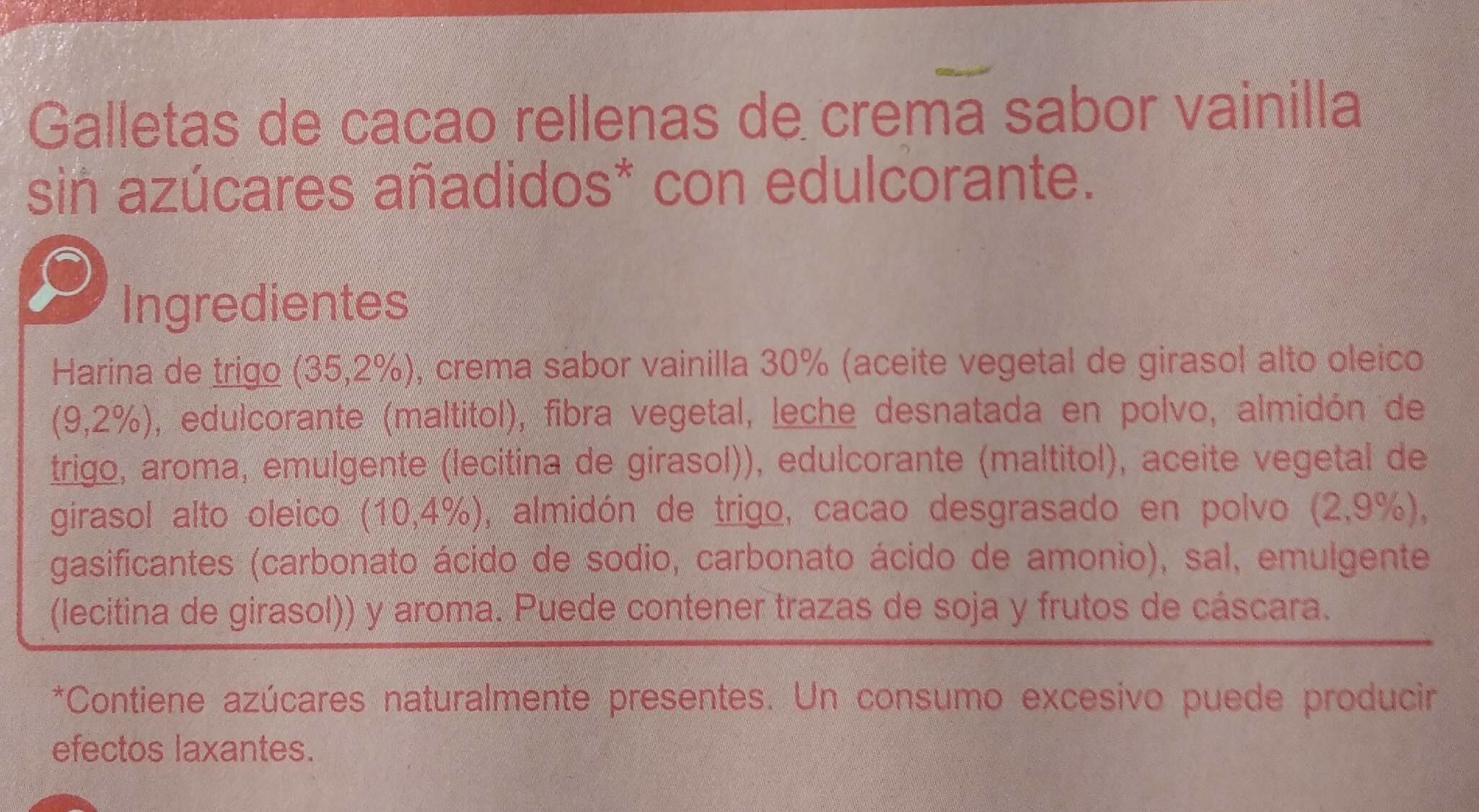 Galleta negra-blanca sin azúcares añadidos - Ingredients - es