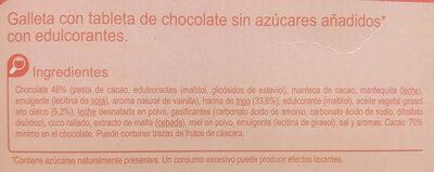 Galleta tableta chocolate s/azúcares añadidos - Ingredients - es