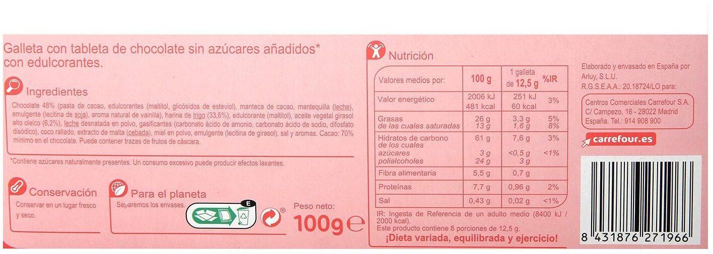 Galleta tableta chocolate s/azúcares añadidos - Nutrition facts - es