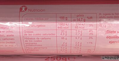 Galleta rellena de crema de chocolate - Información nutricional