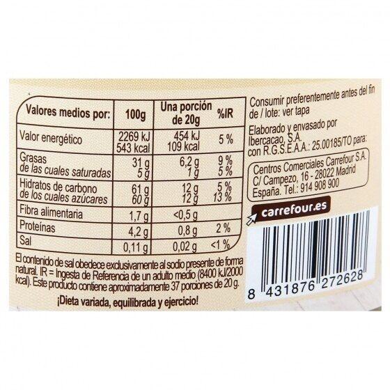 Crema untar 2 sabores 4% avellana sin aceite palma - Información nutricional - es