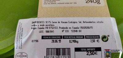 Hamburguesa de vacuno - Ingredientes