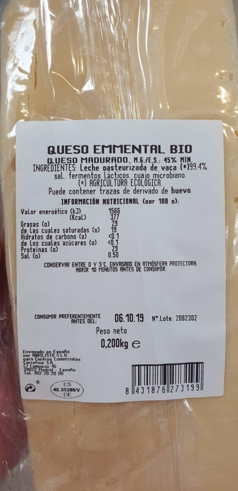 Queso Bio emmental - Información nutricional - es