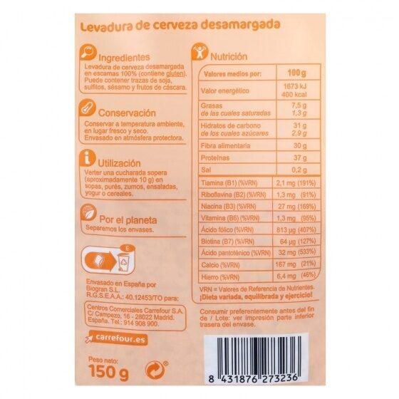 Levadura cerveza desamargada - Informations nutritionnelles - es