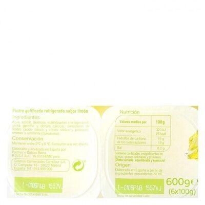 Jellies limón - Información nutricional - es