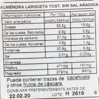 Almendra Largueta con piel tostada sin sal añadida - Información nutricional - es