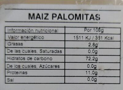 Maíz Palomitas - Valori nutrizionali - es