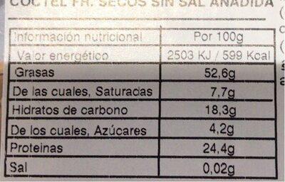 Frutos secos sin sal añadida - Información nutricional - es