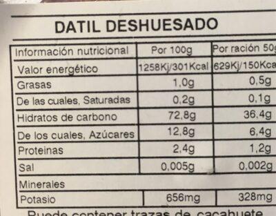 Dátil deshuesado - Información nutricional