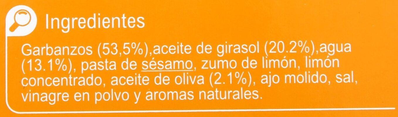 Hummus receta clasica - Ingredientes
