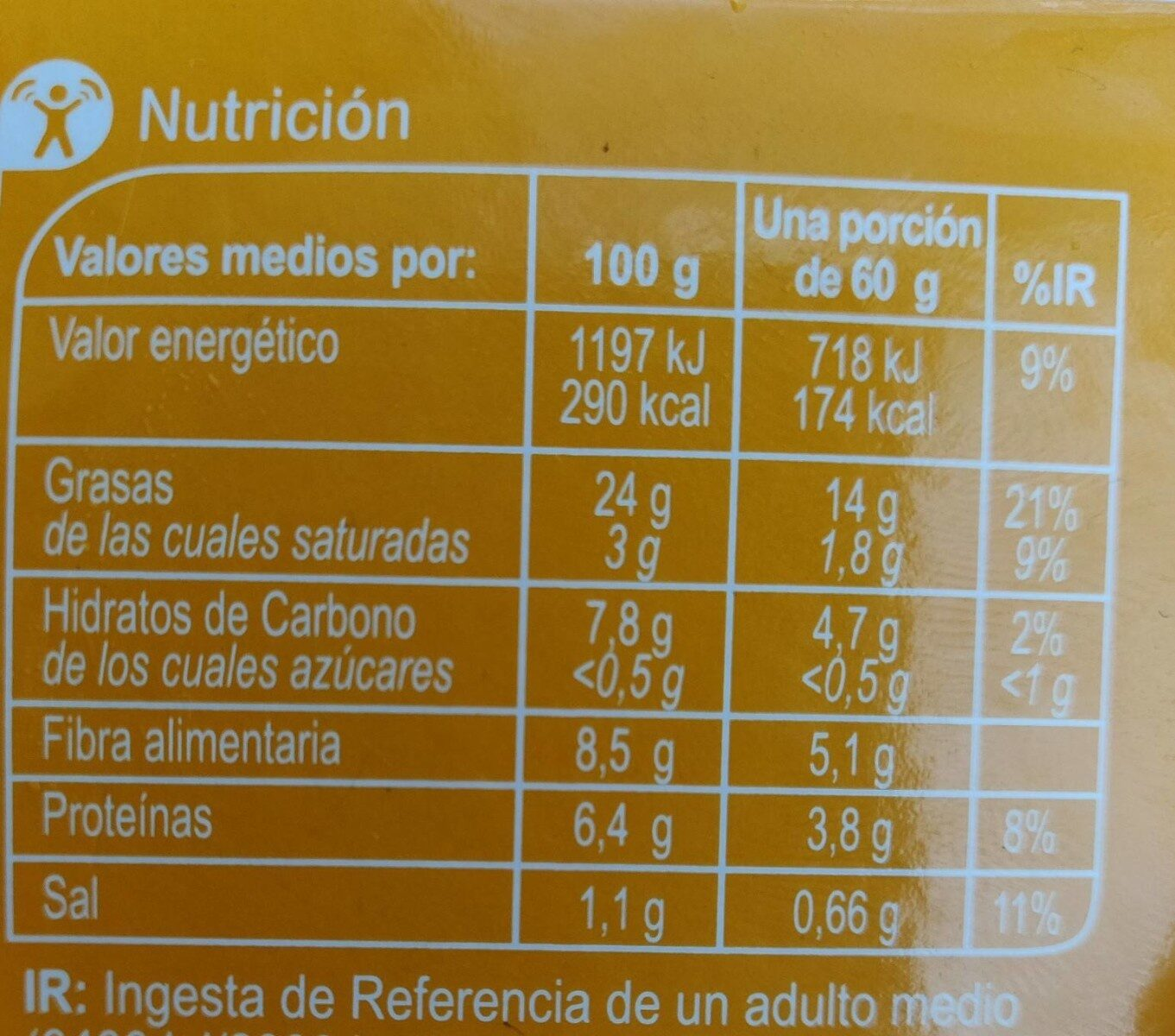 Hummus receta clasica - Información nutricional