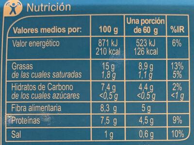 Hummus Light - Información nutricional