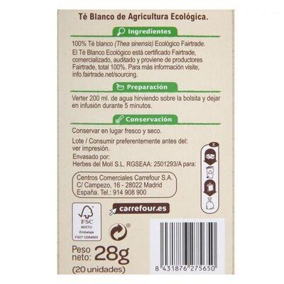 Te blanco - Nutrition facts - es
