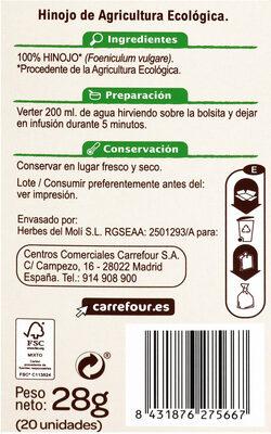 Hinojo - Información nutricional - es