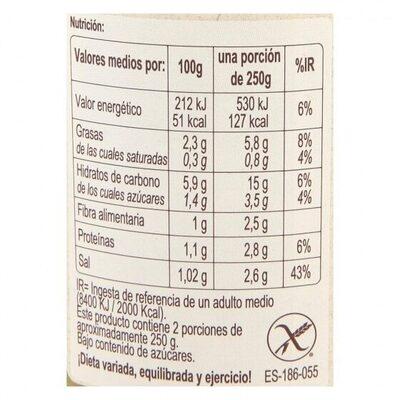 Crema verduras - Informations nutritionnelles - es