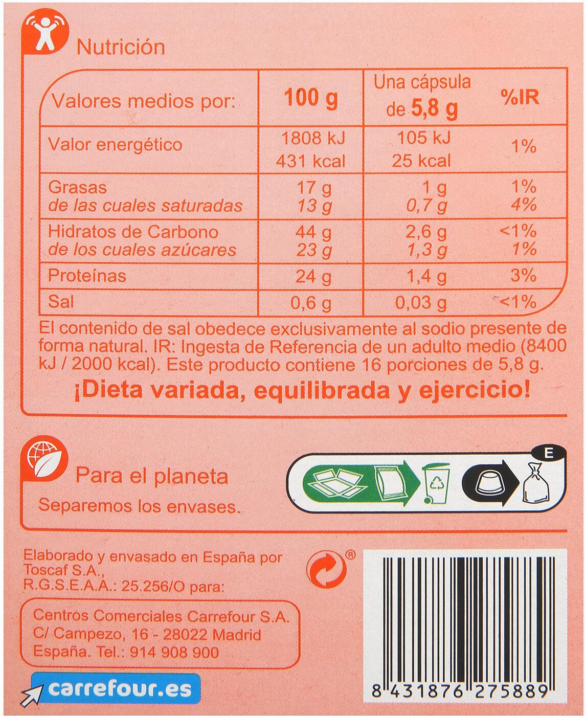Café cortado - Informació nutricional - es