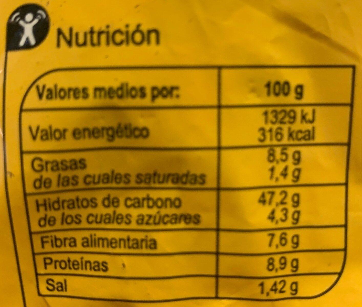Hogaza de pan harina maiz c/pipa calabaza y girasol - Información nutricional - es