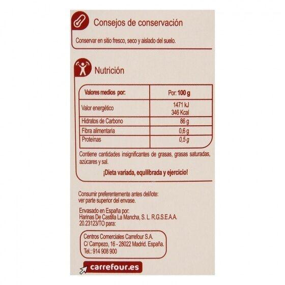 Harina fina de maiz - Información nutricional - es