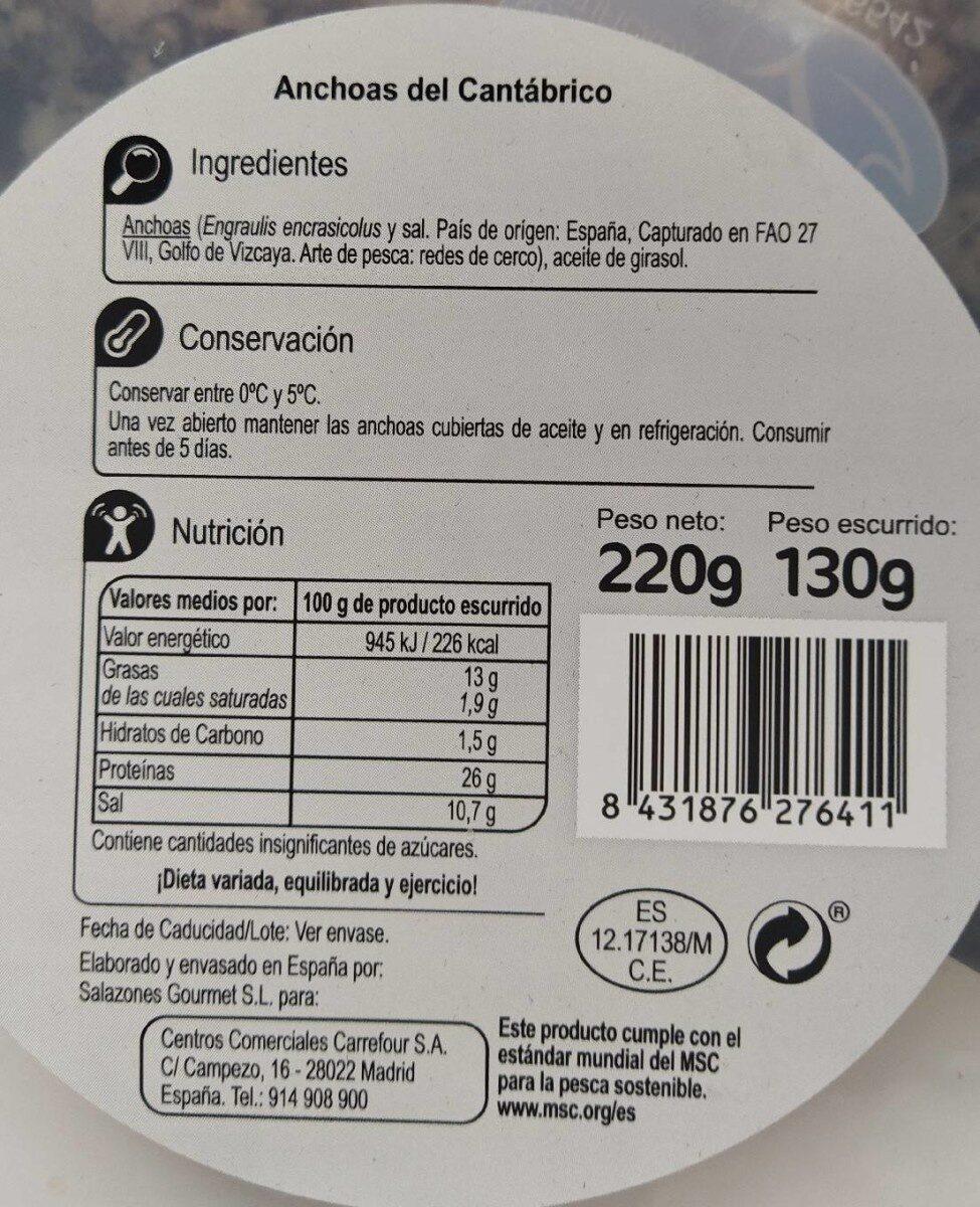 Anchoas del Cantábrico - Información nutricional - es