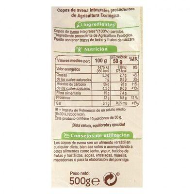 Copos avena integrales - Informació nutricional - es