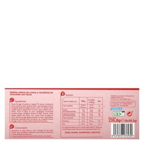 Galletas trios chocolate con leche - Información nutricional - es