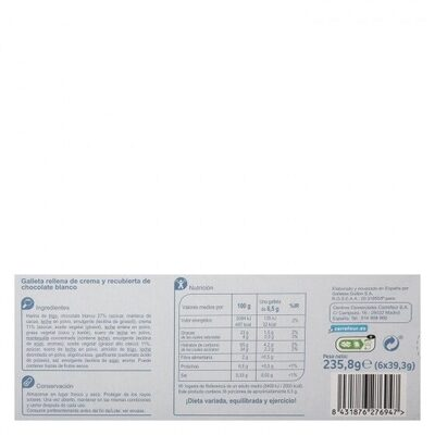 Galletas trios chocolate blanco - Información nutricional - es