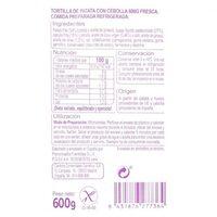 Tortilla cebolla - Información nutricional - es