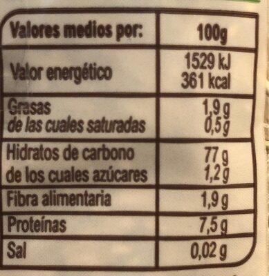 Arroz Integral Largo - Información nutricional