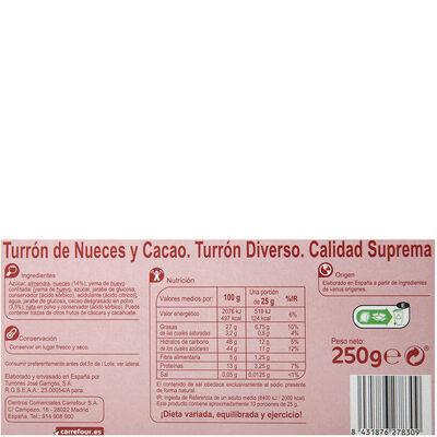 Turrón brownie con nueces - Información nutricional - es